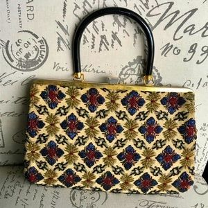 Vintage Beaded Handbag with Attached Change Purse